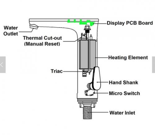 Waschtisch Armatur mit integriertem Durchlauferhitzer